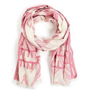 SOLE SOCIETY JACQUARD PRINTED PINK/WHITE SCARF